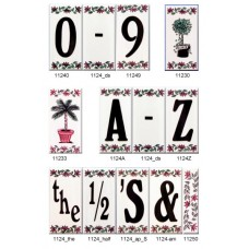 "1124 Floral Borders 4""  Black Numbers  Series 2X4"