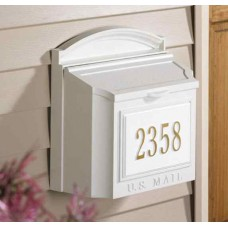 White Wall Mailbox Package with Door Includes Number Plaque