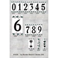 "1836 Ivy Border 6"" Black Numbers Series 3X6"