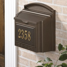 French Bronze Wall mailbox with Door Includes Number Plaque