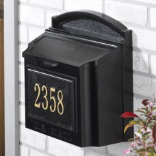 Black Wall Mailbox Package Includes Number Plaque
