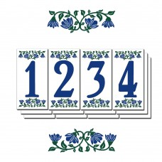 "1636 Bluebell Border 6""  Blue Numbers  Series 3X6"