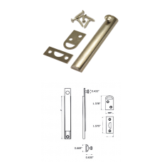 "5""  Solid Brass Surface Bolt in Satin Nickel"
