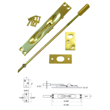 Solid Brass Flush Bolt in Bright Brass ( for metal doors )