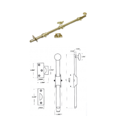 "24""  Solid Brass Heavy Duty Surface Bolt in Bright Brass"