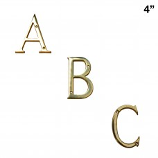 4 inch Solid Brass Bright Brass Finish A-Z House Letters