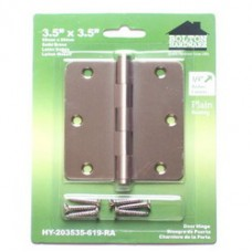"3.5"" x3.5"" x2.0mm 1/4""  Radius Corner Solid Brass Hinges"