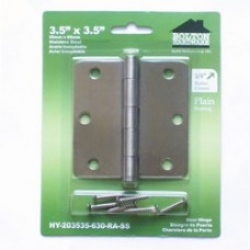 "3.5 inch x 3.5 inch x 2mm  1/4""  Radius Stainless Steel Hinges"