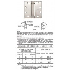 "4.5""  x 4.5"" x3.4mm Heavy Duty Square Stainless Steel Spring Hinge"