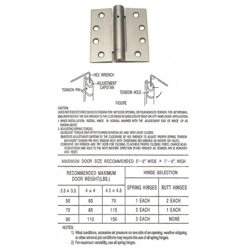 4inch x 4inch commercial steel door hinge with spring at rpm hardware