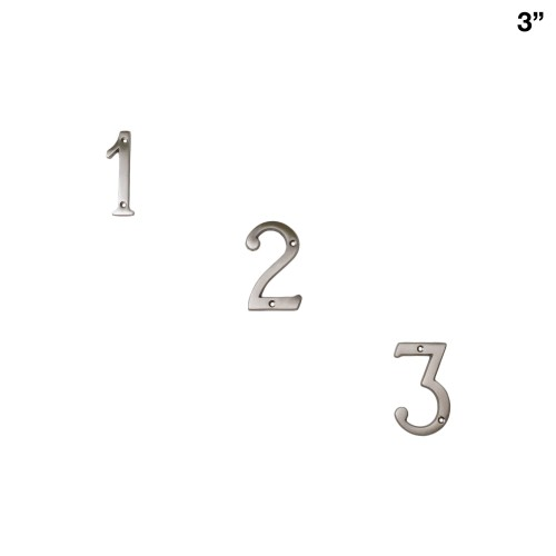 3 Inch Solid Brass Satin Nickel Finish House Numbers