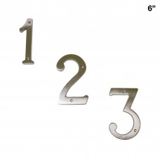 6 inch Solid Brass Satin Nickel Finish House Number